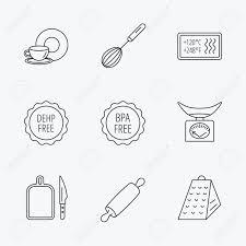 台所スケール泡立て器とおろし金のアイコン麺棒ボードとナイフ線形記号食べ物や飲み物bpadehp