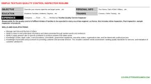 Textiles Quality Control Inspector Cover Letter Resume 97513