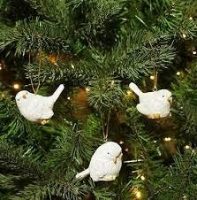Christbaumschmuck Waldtiere Keramik Weiß 4 Stück