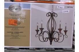 hampton bay aruba teak finish chester 5 light chandelier sku 937379 retail 209