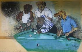 dogs playing pool mural on the outside of adams angler s reef in moore haven florida