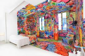 crazy street style bedroom with graffiti wall art photos interior design