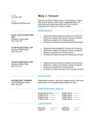 Phlebotomist Resume Gorgeous Download 60 Professional Phlebotomy Resumes Templates Free
