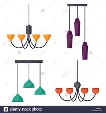 Hanging Lamps Set Chandeliers Lamps Bulbs Elements Of Modern