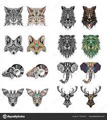 набор глав узорчатого лев олень волк рысь лиса озу икра и слон