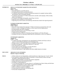 Internship Marketing Resume Samples Velvet Jobs