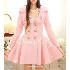 ladylike turn down collar pink peacoat