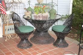 vintage wicker patio furniture. Vintage Wicker Woodard Patio Furniture With Green Cushions