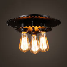 industrial style 3 light semi flush ceiling light in black finish beautifulhalo com