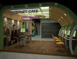 Computer Cyber Cafe Interior Design Internet Cafe Portfolio Work Liking The Curved Wall