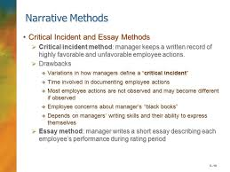 the nature of performance management performance  6 18 narrative methods critical incident and essay methodscritical incident and essay methods  critical