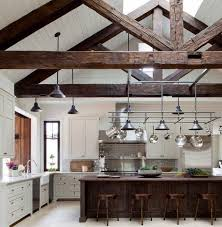 exposed ceiling lighting. farmhouse kitchen decor ideas exposed ceiling beams pendant lights white cabinets lighting