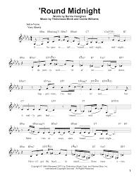 Round Midnight Chart Round Midnight By Ella Fitzgerald Pro Vocal Digital Sheet Music