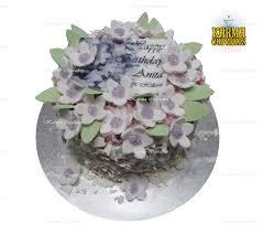 Sugar Flower Birthday Cake With Edible Name Plague