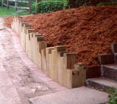landscape timbers vertical retaining