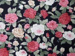 Vintage Floral Print Details About Black Rose Vintage Floral Red 100 Pure Cotton