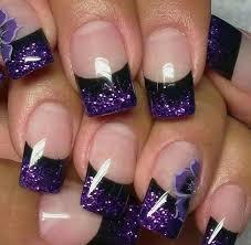 Lovely Flower Purple Nail Design Flower Purple Black Line