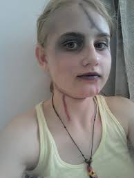 how to create a face painting beaten up dead person look step 6