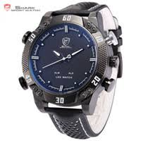 mens digital shark watch uk uk delivery on mens digital cheap atches clocks wristwatches shark sport watch black white stainless steel auto date alarm leather band