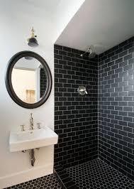 tile backsplash bathroom shower.  Backsplash Black Subway Tile With Round Framed Mirror For Glamorous Bathroom  Decor Backsplash Shower