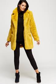 k zell mustard teddy bear faux fur coat limited edition designer stock