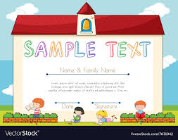 Children Certificate Template Certificate Template With Children On Background Vector Image