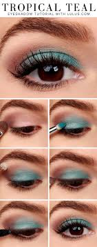easy makeup tutorial tropical teal eye shadow look