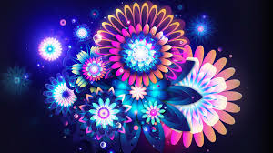 Neon Wallpapers. Colorful Neon Flowers Animation Graphic Element Type ...