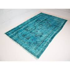 vintage turkish rug in deep blue with shades of turquoise design market