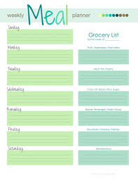 Meal Planning Spreadsheet Excel Free Weekly Menu Meal Planner Grocery List Download