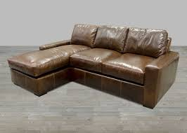 Grand Scale Leather Track Arm Sofa With Chaise Lounge
