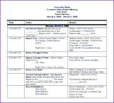 Examples Of An Itinerary Sample Itinerary Format