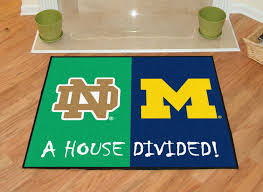 notre dame fighting irish michigan wolverines house divided area mat rug x memory foam bath dining rugs wildlife lodge art deco western mission style carved