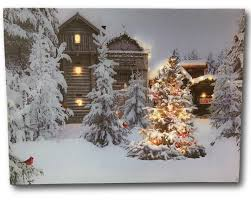 Canvas Christmas Prints With Led Lights Lighted Christmas Wall Art 12 X 16 Canvas Print With Cardinals And Trees In An Outside Winter Scene Winter Picture With Led Lights 2621
