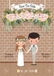 Save The Date For Wedding Cartoon Couple Rustic Blossom Flowers Save The Date Wedding Invitation