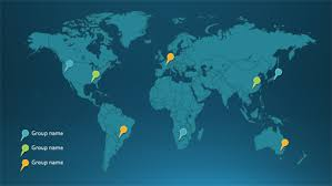 office world map. Map Pins Infographic Depth Theme Widescreen Office World