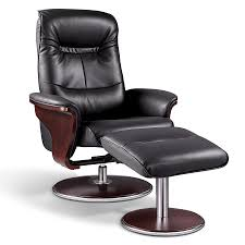artiva usa 'milano' modern bend wood black leather swivel recliner