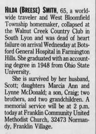 Obituary for HILDA SMITH (Aged 65) - Newspapers.com