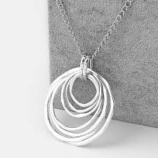 whole large antique silver personalised tibetan silver 7 circles pendant necklace jewelry with long metal chain stone pendant necklace popular pendant