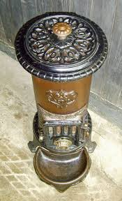 small french in round column stove