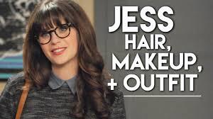 zooey deschanel jess new makeup hair outfit