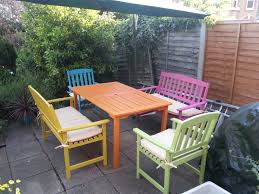 wooden outdoor furniture painted. Candy Summer Garden Furniture A Painted Table Decorating On Intended For How To Paint Wooden Outdoor