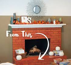 brick fireplace before repainting