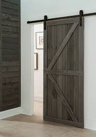 a sliding barn style sliding door created out of prefinished rustic millwork