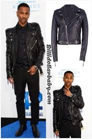 big sean in blk dnm black leather jacket at the 42 premiere big