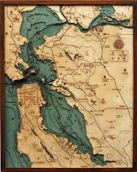 Wood Bathymetric Charts San Francisco Bay Bathymetric Wood Chart Wooden Map Map