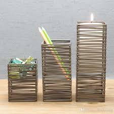 h4 square candlestick pencil cup holder kitchen room holder hand made art crafts wedding birthday home hotel garden office gift present cute white pillar
