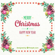 and new year background with watercolor fl frame free vector