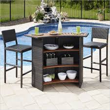 home styles riviera outdoor woven bar and two stools set in brown
