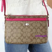 NWT Coach Signature East West Pop Up Swingpack Crossbody Bag F52657 Pink  Ruby